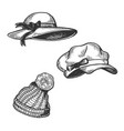 woman hats engraving vector image