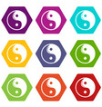 yin yang symbol taoism icons set 9 vector image