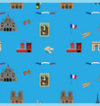 blue paris seamless pattern hand-drawn landmarks vector image