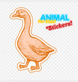 farm animal goose in sketch style on colorful vector image