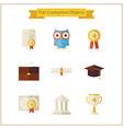 Flat School Graduation and Success Objects Set vector image