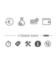 money cashback and wallet line icons coins vector image