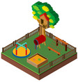 3d design for playground with treehouse vector image vector image