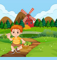 a boy with vegetable basket at farm vector image