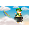 A man inside a pot of gold with a mug of cold beer vector image vector image