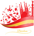 barcelona background with flag and symbol set vector image vector image
