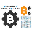 bitcoin cog wheel flat icon with clip art vector image vector image