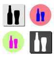 bottle and glass of beer flat icon vector image
