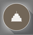 cake with candle sign white icon on brown vector image vector image