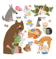 cartoon set with cute animals holding bouquet vector image