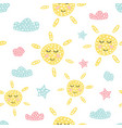 childish seamless pattern with cute sun creative vector image vector image