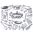 cooking class sketch kitchen tool kitchenware vector image