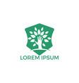 creative green hand tree logo design vector image vector image