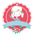 cute girl cartoon stylish outfit portrait floral vector image vector image