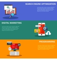 Digital marketing flat business colorful icons set vector image