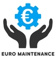 Euro Maintenance Flat Icon with Caption vector image vector image