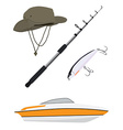 Fishing hatpole rod and boat vector image vector image
