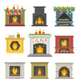 flat style fireplace icon design house room warm vector image vector image