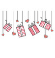 gift boxes hanging vector image