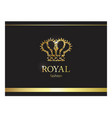 gold crown luxury label emblem or packing logo vector image vector image