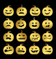 gold halloween pumpkins set vector image vector image