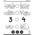 greater less or equal cartoon coloring page vector image