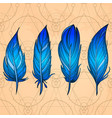 Hand drawn set of feathers on the background of vector image