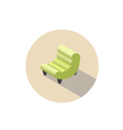 isometric modern green armchair 3d flat interior vector image vector image