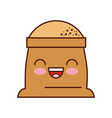 kawaii sack of flour grain ingredient bakery icon vector image vector image