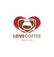 love shape of coffee shop logo design template vector image vector image
