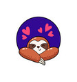 lovely cartoon sloth logo vector image