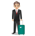 male steward holding suitcase vector image