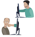 Man fights with another one through the internet vector image vector image