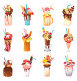 milkshakes healthy ice-cream drink in glass vector image