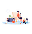 nanny with children babysitter infant baby vector image vector image