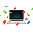 online casino poker background laptop vector image