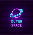 outer space neon label vector image