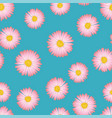 pink aster daisy seamless on blue background vector image vector image
