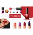 realistic nail polish composition vector image vector image
