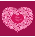 Red floral heart valentine card vector image