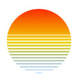 retro sunset over sea with gradient silhouette vector image
