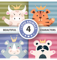 set cartoon characters - bull panda tiger rhino vector image