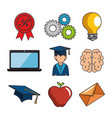 set of education online icons vector image
