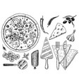 set of pizza with cheese yummy italian vegetarian vector image