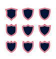 set shield icons with red contour vector image