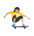 Skateboarder jump doing trick in skate park vector image vector image