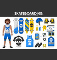 skateboarding sport equipment skateboarder garment vector image vector image