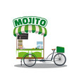street food cocktails mojito drink cart fast food vector image