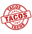 tacos red grunge round vintage rubber stamp vector image vector image