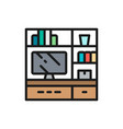 television on stand flat color line icon vector image